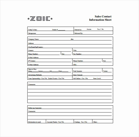 Contact Information form Template Luxury Contact Sheet Template 16 Free Excel Documents Download