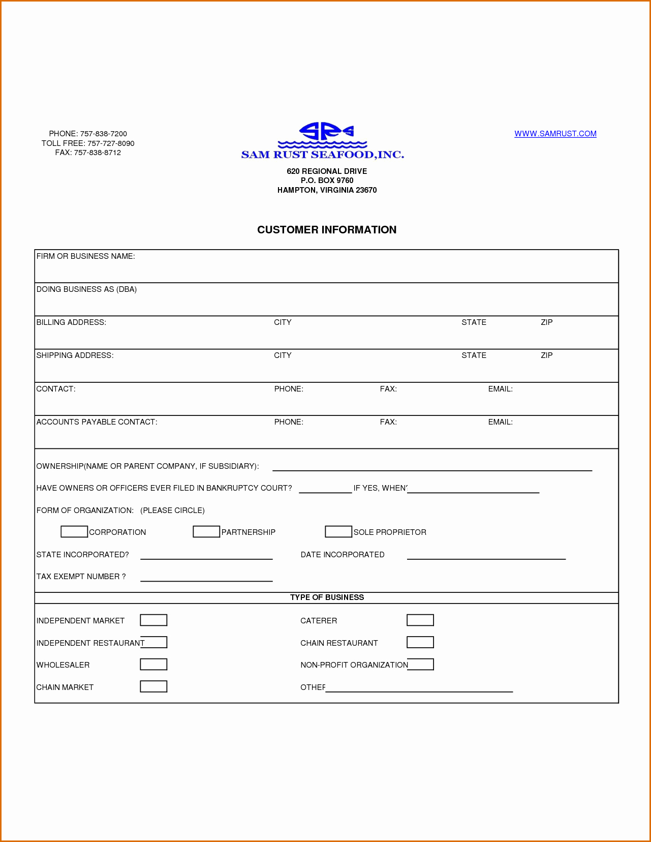 Contact Information form Template New 13 Customer Information form Template