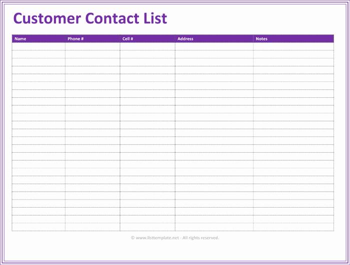 Contact Information form Template Unique Customer Contact List Template 5 Best Contact Lists