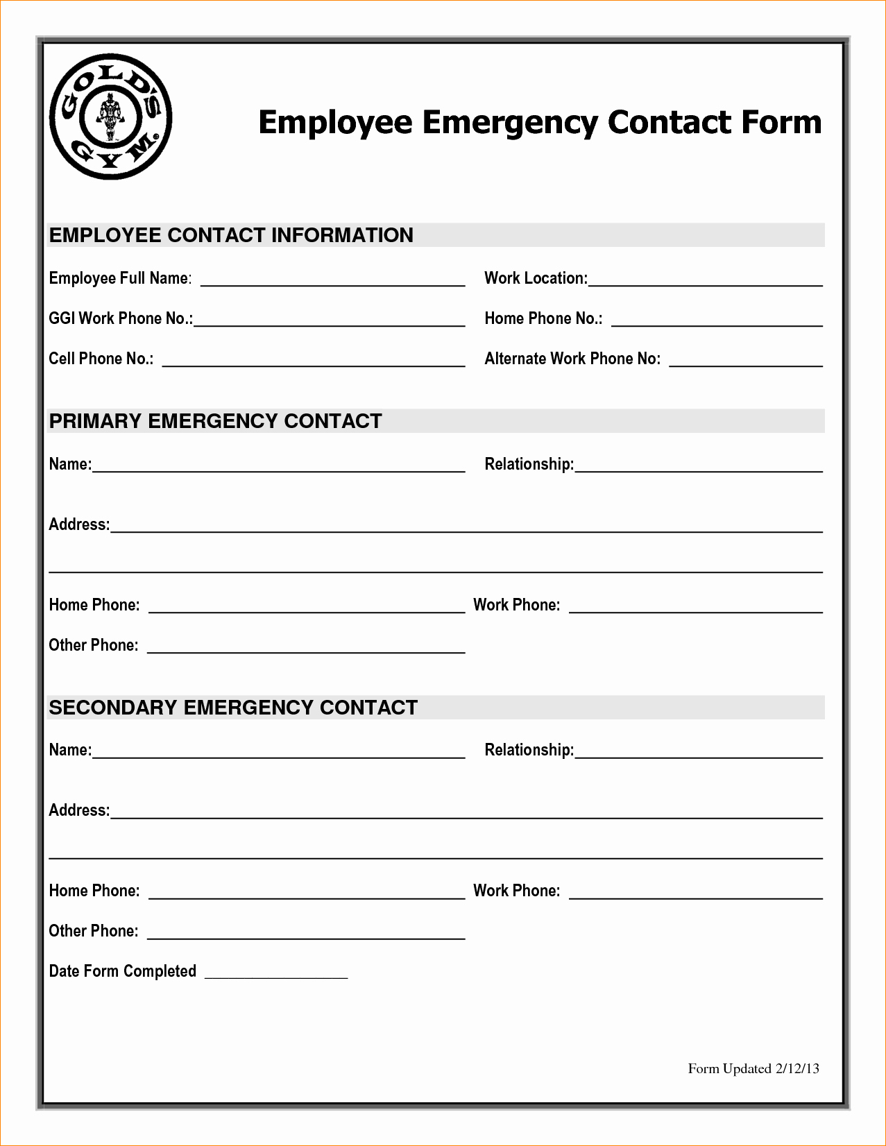 Contact Information form Template Unique Employee Emergency Contact Printable form to Pin