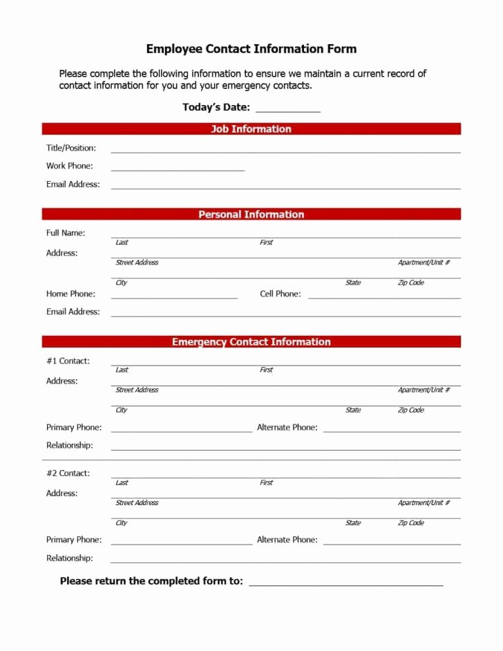 Contact Information form Template Unique Employee Information form