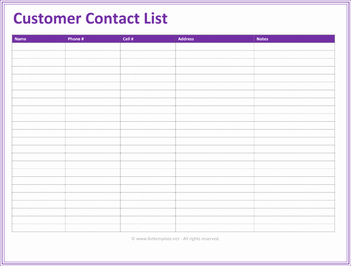 Contact List Excel Template Beautiful Customer Contact List Template 5 Best Contact Lists