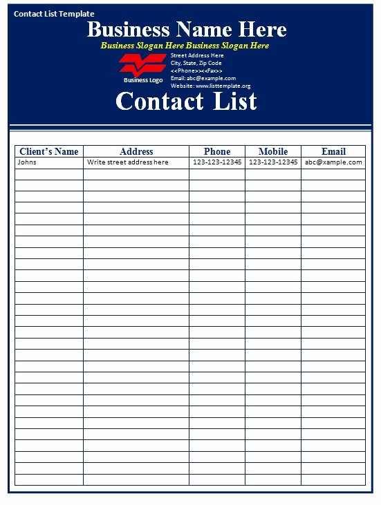 Contact List Excel Template Fresh Contact List Template Free formats Excel Word