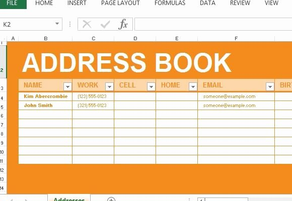 Contact List Excel Template Unique Address Book Maker Template for Excel