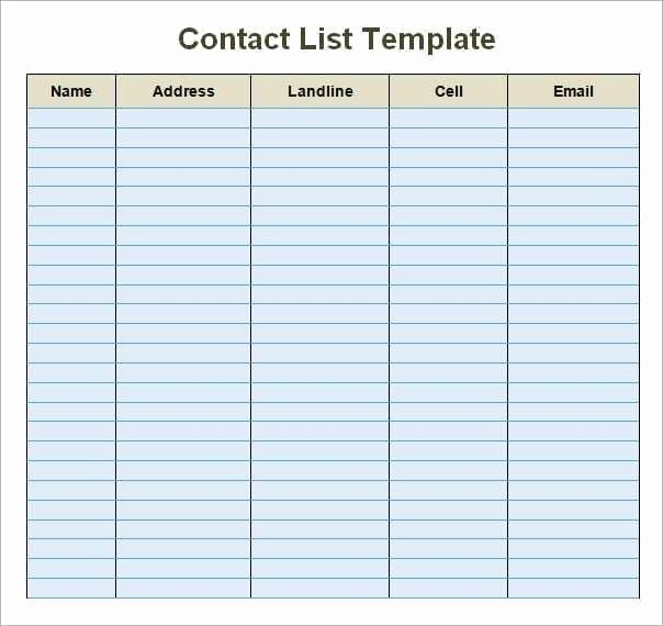 Contact List Template Excel Best Of 24 Free Contact List Templates In Word Excel Pdf