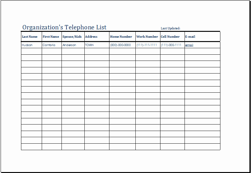 Contact List Template Excel Inspirational organization S Telephone List Template