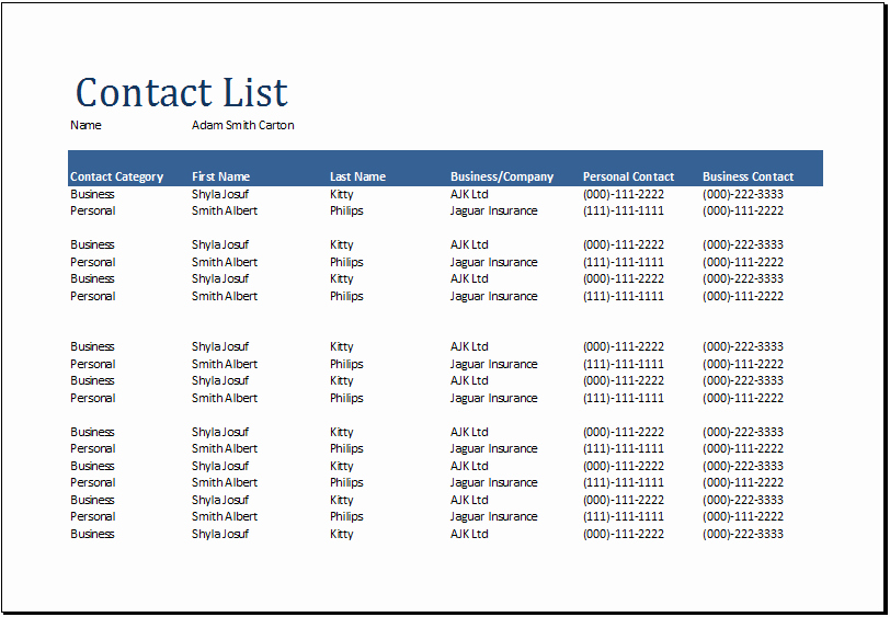 Contact List Template Excel New Word Prehensive Contact List Template Document