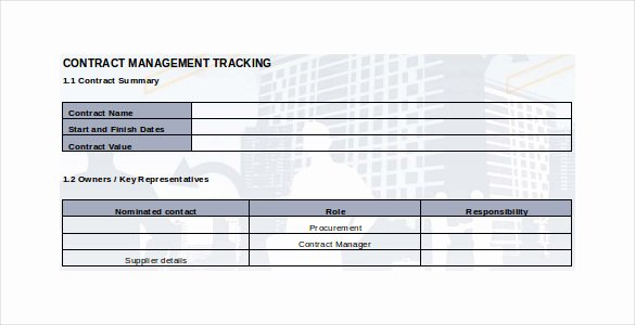 Contract Management Template Excel Luxury Contract Tracking Template 10 Free Word Excel Pdf