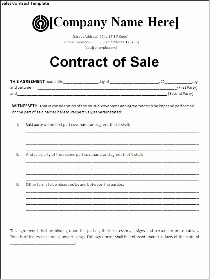 Contract Of Sale Template Beautiful Sales Contract Template