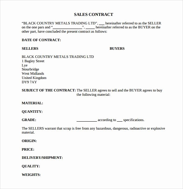 Contract Of Sale Template Fresh 8 Sales Contract Templates