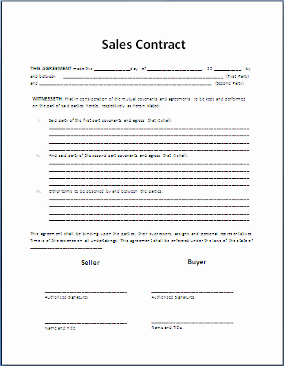 Contract Of Sale Template Lovely Free Printable Sale Contract form Generic