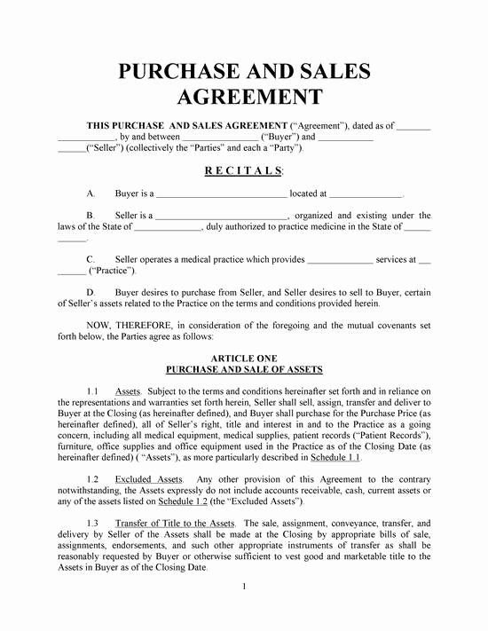 Contract Of Sale Template New Purchase and Sales Agreement Basic with Exhibits