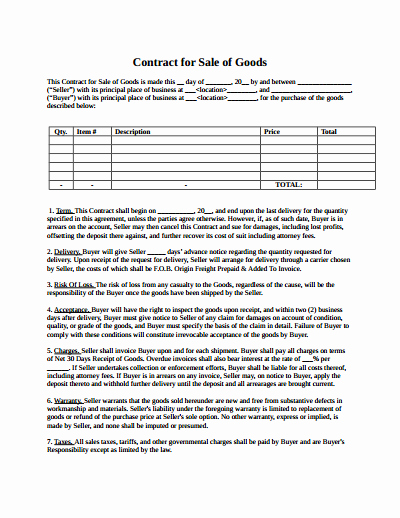 Contract Of Sale Template Unique Sales Contract Template Free Download Create Edit Fill