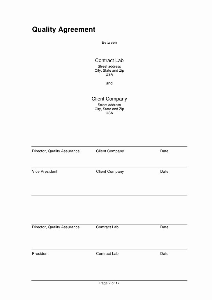 Contract Signature Page Template Best Of Analytical Quality Agreement Template