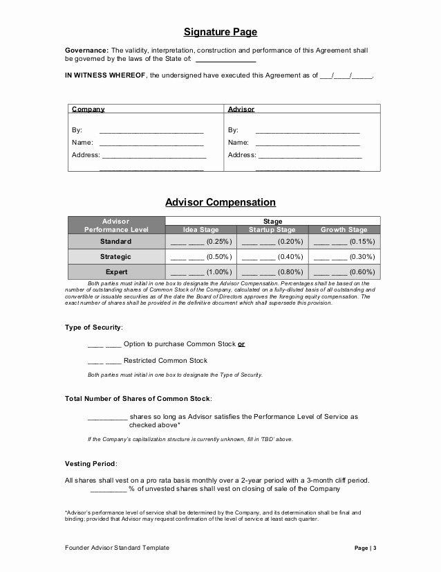 Contract Signature Page Template Inspirational Founder Advisor Standard Template V26