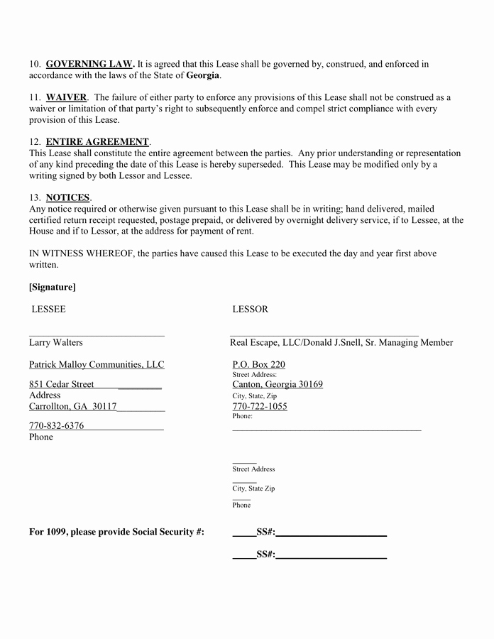 Contract Signature Page Template Luxury Residential House Lease Agreement In Word and Pdf formats