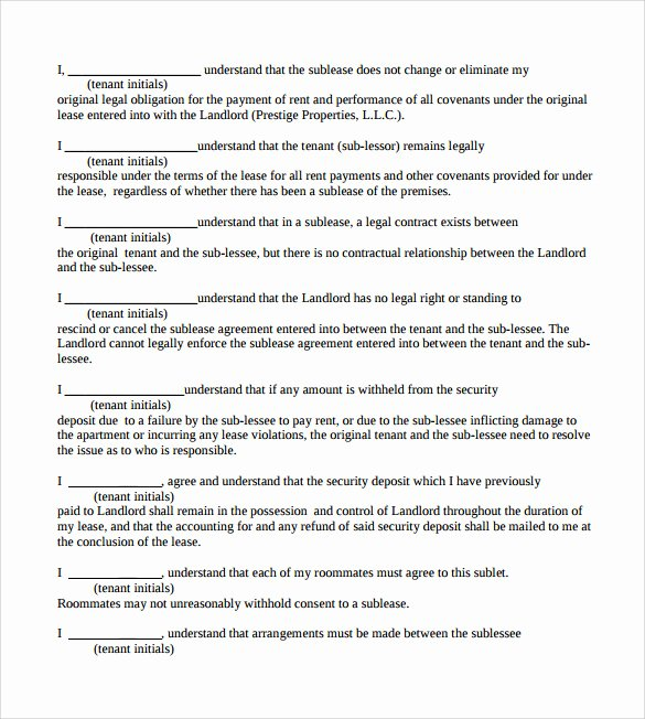 Contract Template Google Docs Awesome Sublease Contract Template 7 Download Documents In Pdf