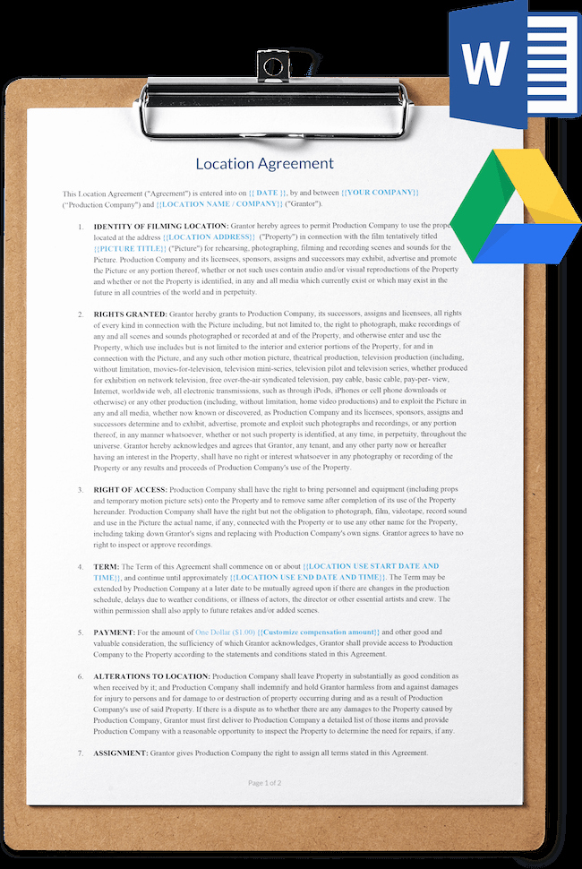Contract Template Google Docs Inspirational Location Release Agreement Template Free Download