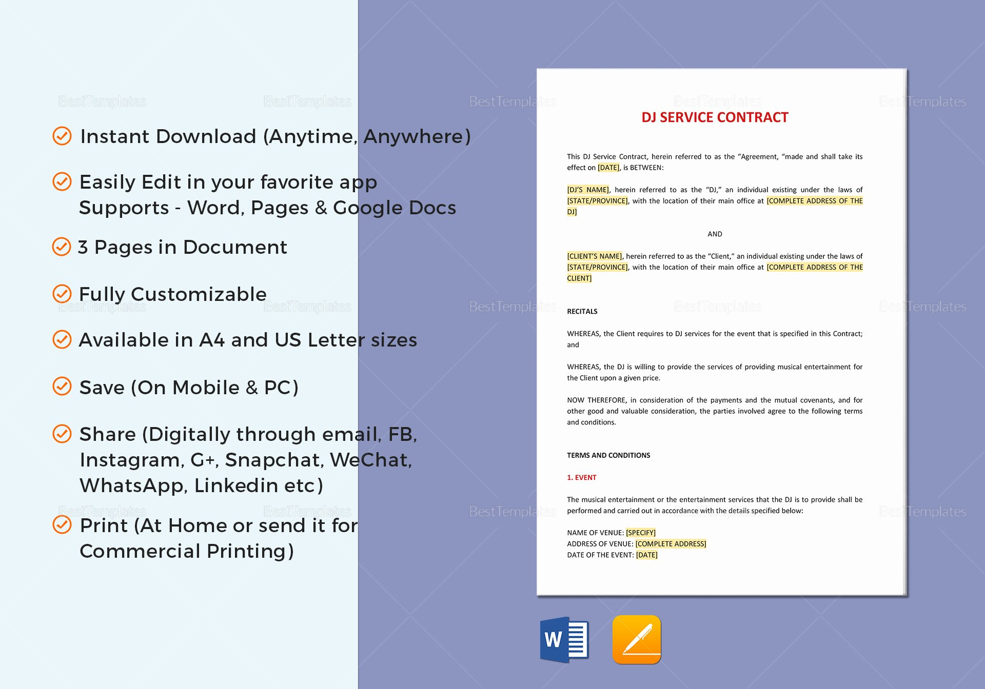 Contract Template Google Docs New Dj Service Contract Template In Word Google Docs Apple Pages