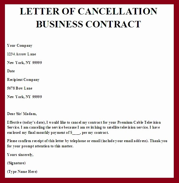 Contract Termination Letter Template Awesome Contract Termination Letter