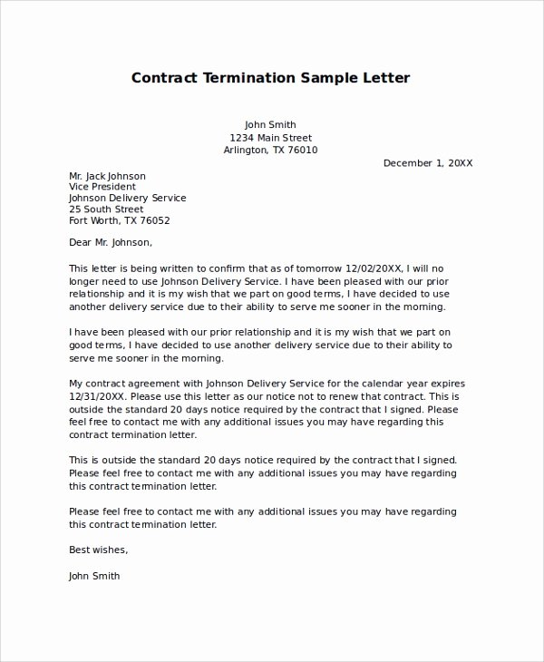 Contract Termination Letter Template Fresh 9 Sample Termination Letters