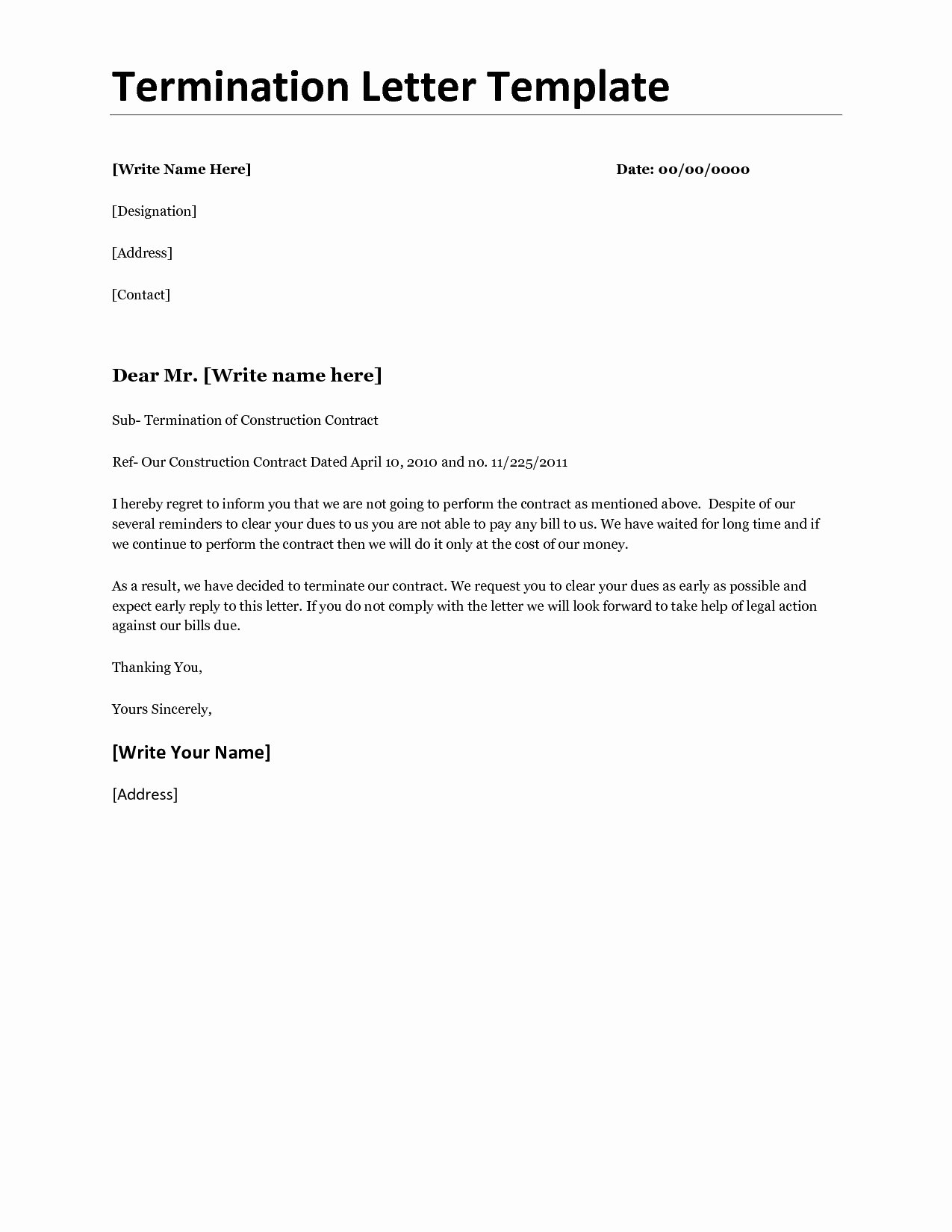 Contract Termination Letter Template Fresh Business Termination Letter Template Samples for Your