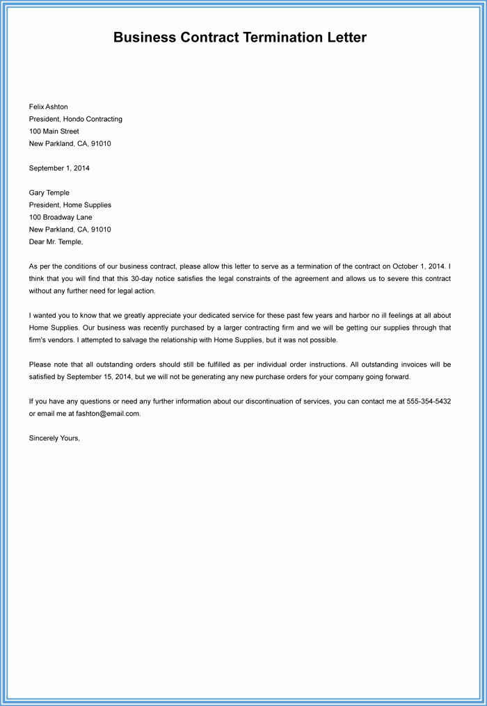 Contract Termination Letter Template Lovely 7 Employment Termination Letter Samples to Write A