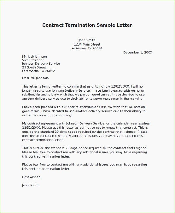 Contract Termination Letter Template Luxury Termination Contract Letter format – thepizzashop