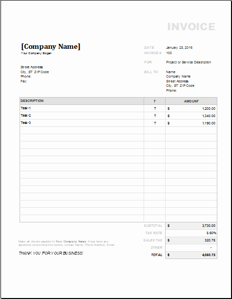 Contractor Invoice Template Excel Awesome 4 Customizable Invoice Templates for Excel