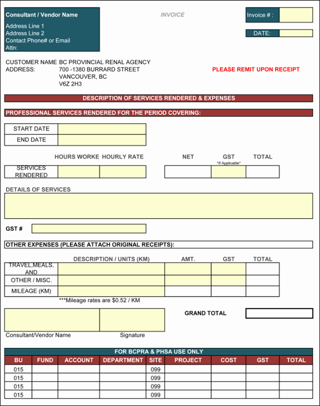 Contractor Invoice Template Excel Luxury Contractor Invoice Template 6 Printable Contractor Invoices