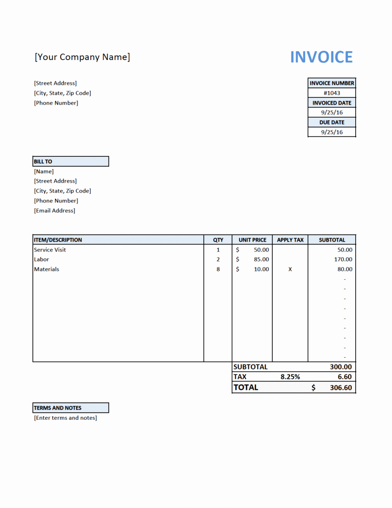 Contractor Invoice Template Free Beautiful Free Invoice Template for Contractors