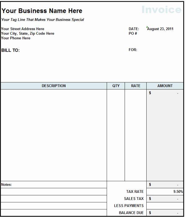 Contractor Invoice Template Free Unique Subcontractor Invoice Template Excel