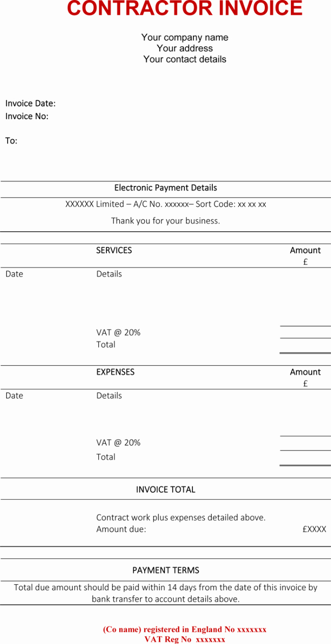 Contractor Invoice Template Word Fresh Contractor Invoice Template 6 Printable Contractor Invoices