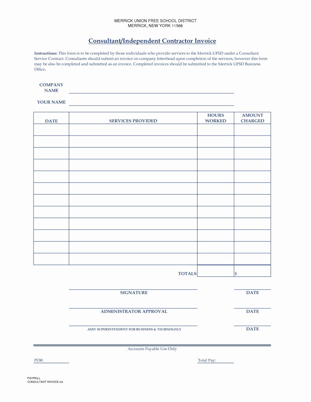 Contractor Invoice Template Word Fresh Independent Contractor Invoice Template