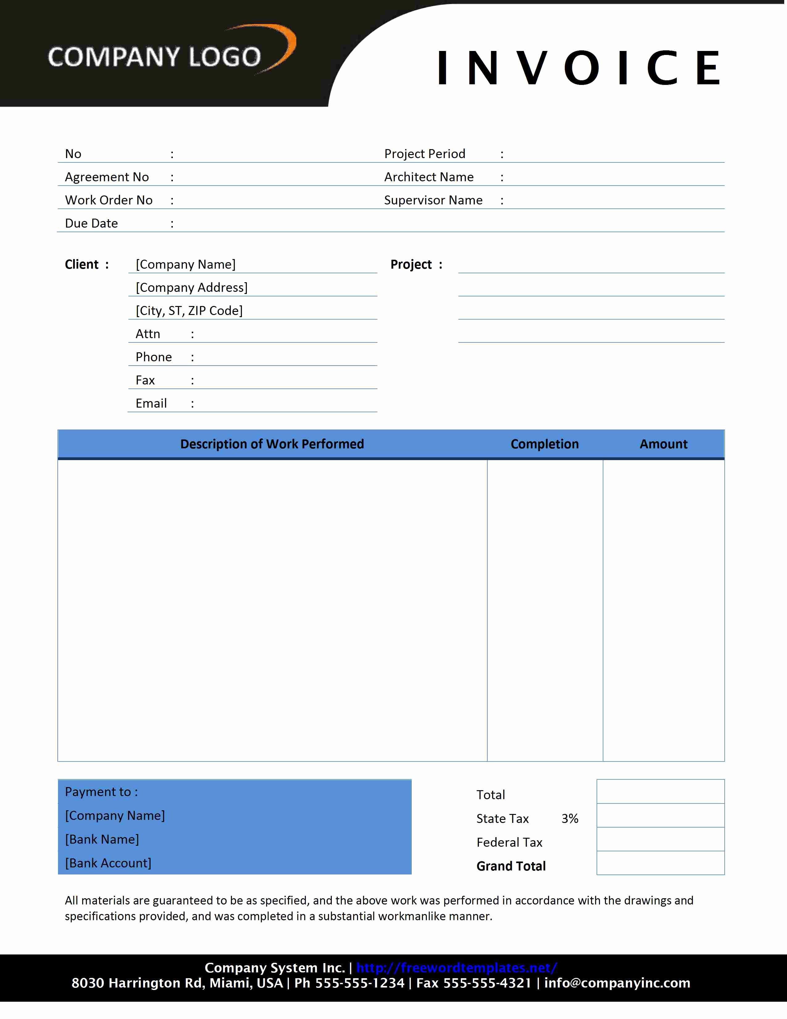 Contractor Invoice Template Word Unique Contractor Invoice