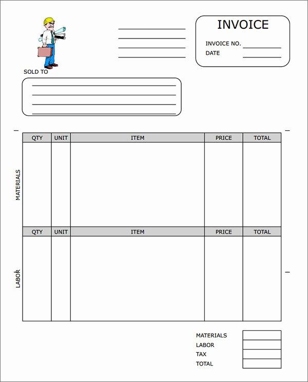 Contractor Invoice Template Word Unique Sample Contractor Invoice Templates 14 Free Documents