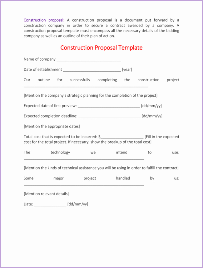 Contractor Proposal Template Pdf Awesome Construction Proposal Template 4 Best Sample