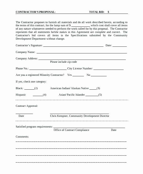 Contractor Proposal Template Pdf Awesome Contract Proposal Template Contractor Sample Pdf Freelance