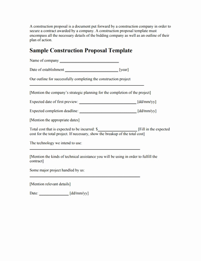 Contractor Proposal Template Pdf Beautiful Construction Proposal Template Free Download Create