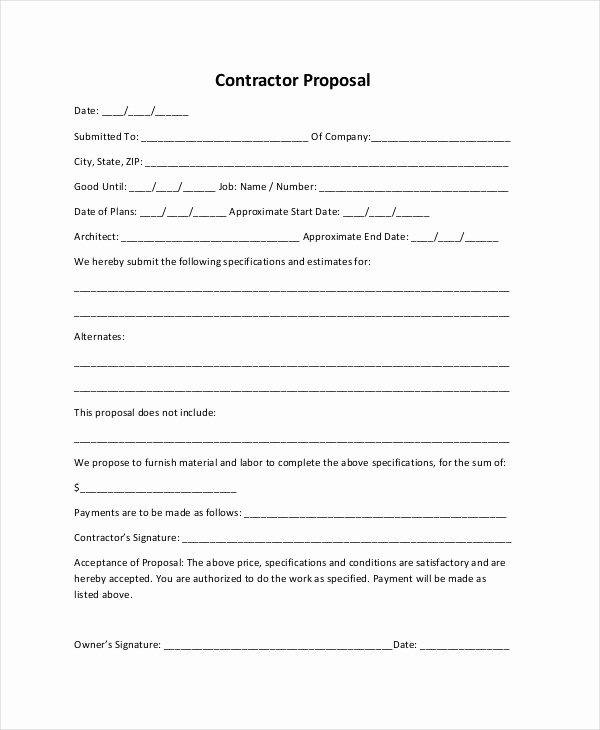 Contractor Proposal Template Pdf Beautiful Sample Construction Proposal forms 7 Free Documents In