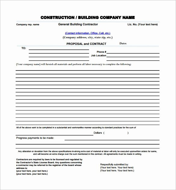 Contractor Proposal Template Pdf Lovely Construction Proposal Template