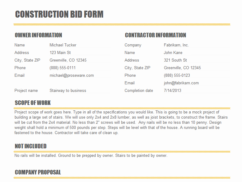 Contractor Proposal Template Pdf Luxury Construction Proposal Templates