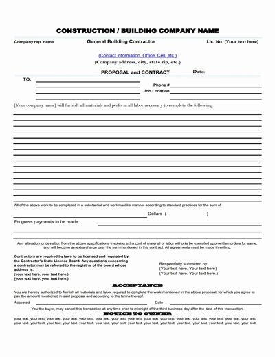 Contractor Proposal Template Pdf New Construction Proposal Template Free Download Create