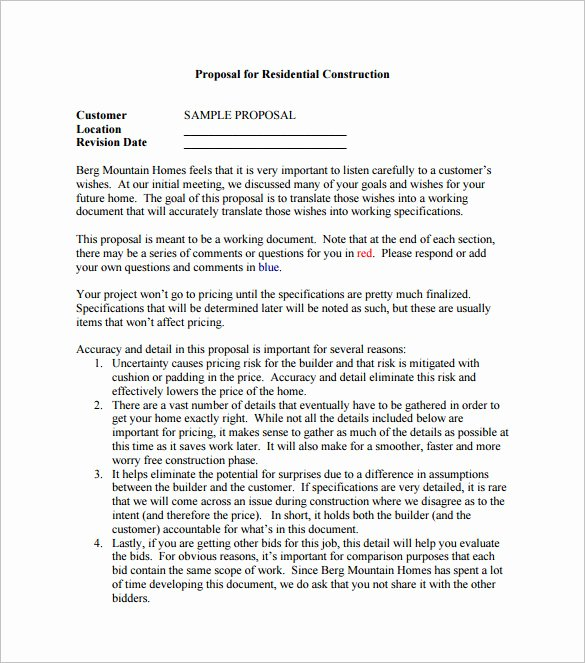 Contractor Proposal Template Pdf New Construction Proposal Templates 19 Free Word Excel