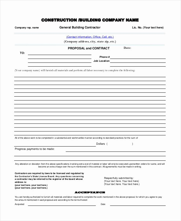 Contractor Proposal Template Pdf New Sample Contractor Proposal forms 7 Free Documents In