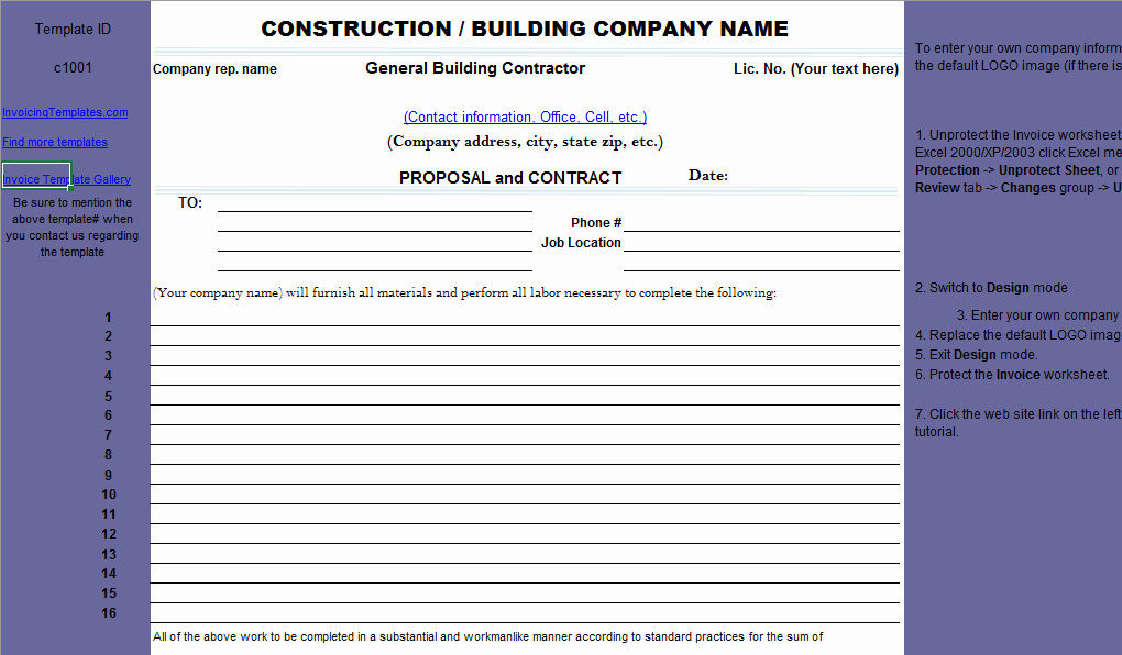 Contractor Proposal Template Word Elegant Construction Proposal Template