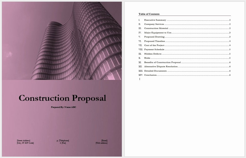 Contractor Proposal Template Word Unique 14 Free Construction Proposal Templates Word Templates