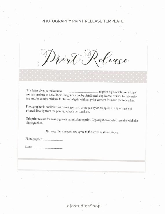 Copyright Release form Template Beautiful Graphy Print Release form Template Graphy Template