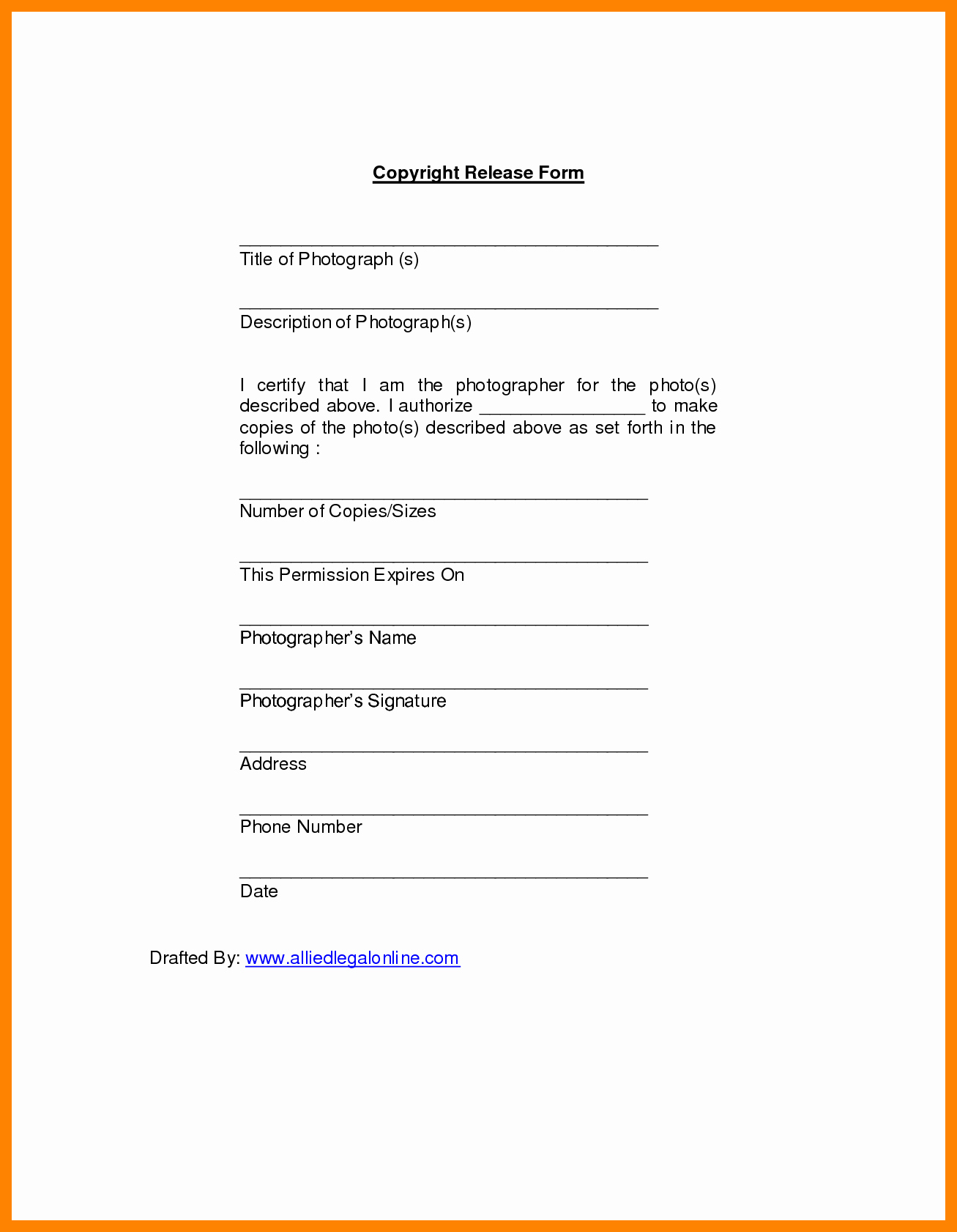 Copyright Release form Template Elegant 5 Photo Copyright Release form