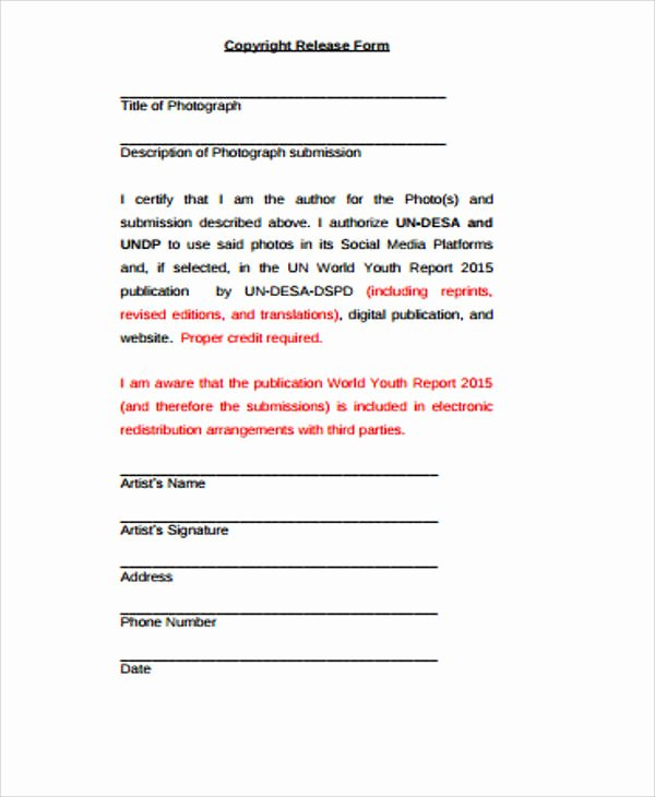 Copyright Release form Template Elegant 9 Sample Copyright Release forms